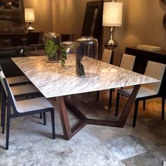 Dining room in marble and wooden base . Dining Table Marble, Dining Room Table, Dining Furniture, Dining Room Inspiration, Dinning Table, Table Furniture, Modern Dining Room, Marble Dining, Stone Dining Table