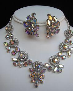 Vintage WEISS Aurora Borealis Rhinestone Necklace & Earrings Demi-Parure, circa 1950s - FREE SHIPPING. via Etsy.