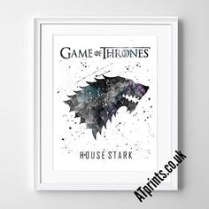 GAME OF THRONES  House Stark Watercolor Poster Print