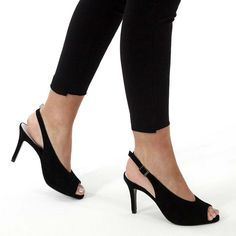 Black suede peep-toe sandals for bunions, wide and problem feet. High Heels Uk, Best Shoes For Bunions, Comfortable High Heels, Court Heels, Shoes Uk, Peep Toe Heels, Black Suede, Peeps, Kitten Heels
