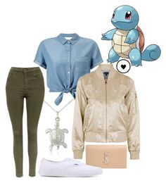 """""""Squirtle - Pokemon"""" by princesselesa ❤ liked on Polyvore featuring Argent of London, Miss Selfridge, Yves Saint Laurent, Topshop and Vans"""