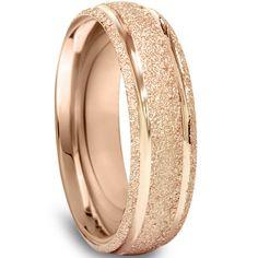 14K Rose Gold 6MM Brushed Mens Wedding Band Ring Size by Pompeii3