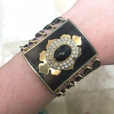 Juicy Couture Bracelet Thick Juicy couture bracelet! Perfect for fall the only thing wrong with it is that is missing a white gem! It a statement bracelet that goes perfectly with everything! Juicy Couture Jewelry Bracelets