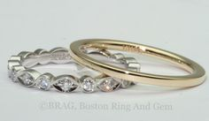 Our assortment of hand crafted, custom made diamond platinum, rose and yellow gold wedding rings.   www.bostonringandgem.com