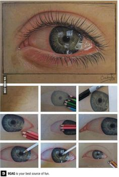 15 Amazing Drawings that Look Eye drawing drawing eye tutorial things to draw pencil drawing drawing eyedrawing eye art # Amazing Drawings, Pencil Art Drawings, Art Drawings Sketches, Amazing Art, Drawings With Colored Pencils, Drawings Of Eyes, Interesting Drawings, Awesome, Horse Drawings