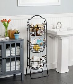 Gourmet Basics by Mikasa Harbor 3 Tier Market Basket, Acacia Wood Handles Small Bathroom Storage, Bathroom Baskets, Small Bathroom Decorating, Bathroom Stand, Small Home Decorating Ideas, Organization For Small Bathroom, Small House Storage Ideas, Bathroom Cart, Warm Bathroom