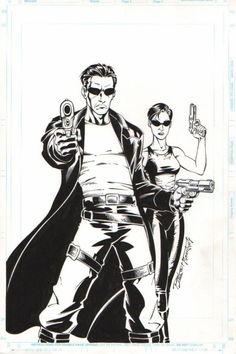 Matrix: Neo & Trinity by Ron Lim Original Comic Art - W.B.