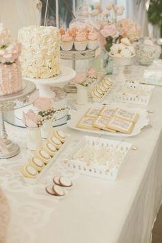 blushing bridal shower - dessert table inspiration