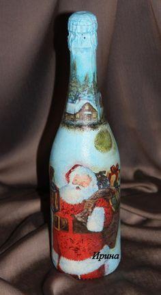 Новогодний декупаж, новогодняя бутылка шампанского (HANDMADE)