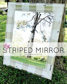 DIY Gold & White Striped Mirror | LiveLoveDIY - inspiration idea for a circular mirror I have...