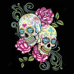 Day of the Dead Two Sugar Skulls and Roses QUALITY WOMAN'S TOP SHORT SLEEVE Ladies Cut T-Shirt, 1st Quality THIS IMAGE LOOKS AWESOME ON A BLACK SHIRT! Choose Shirt Color: Black, Blue, Gray, Pink, Whit