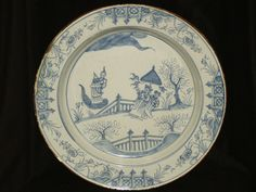 RARE & FINE LARGE 18TH C ENGLISH DELFT PLATE / CHARGER LIVERPOOL C1750  £167
