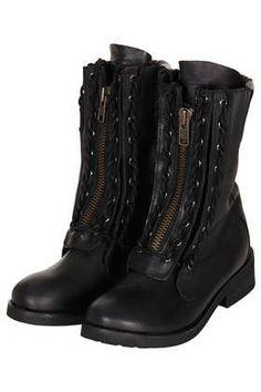 ASK Lace Up Biker Boots - Topshop
