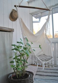 White hanging chair.