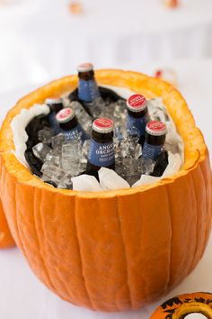 Carved-Out Pumpkin Drink Holder|Color's of Fall Country Villa Inn Wedding|Photographer:  Heidi Calma Photography