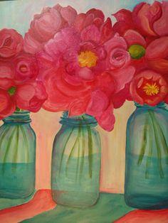 Big Pink Peonies in Aqua Canning Jar, Original Peony ART, 16 x 20, Original Flower Painting on Canvas