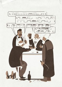 """Late 19th Century Russian composers Mily Balakirev, César Cui, Modest Mussorgsky, Nikolai Rimsky-Korsakov and Alexander Borodin, also known as """"The Mighty Five."""" Mussorgsky is most likely the one passed out on the floor.  Illustration by Daniel Stolle for the German opera music magazine """"Engelsloge""""."""
