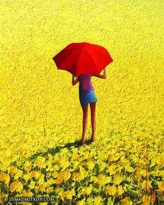 Dima Dmitriev - Sunny Days (Painting), 100x80x2 cm, palette knife on a black canvas