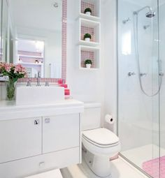 Omit the pink, and this can be great for a small bathroom. Construindo Minha Casa Clean: Banheiros e Lavabos! Bad Inspiration, Bathroom Inspiration, Casa Clean, Decoration Design, Bathroom Interior, Small Bathroom, Bathroom Shelves, White Bathroom, Sink Shelf