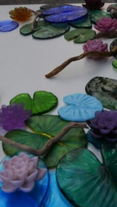 pate de verre water lily