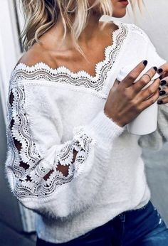 Lace Sweater, Long Sleeve Sweater, Sweater Dresses, Casual Sweaters, White Sweaters, Casual Tops, White Jumper, Mode Boho, Elegantes Outfit
