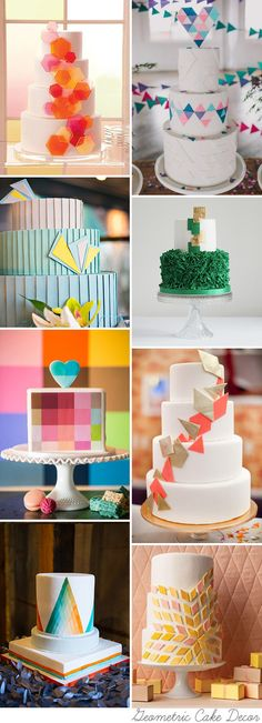 Okay...so they are wedding cakes but they could be art quilts! Hip to Be Square - Geometric Wedding Cakes