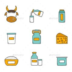 Set Of Cute Hand Drawn Flat Icons With Products by petite_lili Set of cute hand drawn flat icons with products containing lactose: milk bottle, glass, cheese, cottage, cream, yogurt, cow. You c