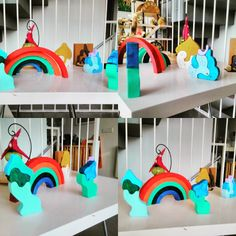 Juguete natural Waldorf - Montessori: Puzles waldorf. Colores vivos y formas asimétricas.