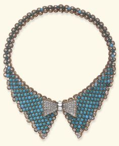 A TURQUOISE AND DIAMOND NECKLACE Designed as a flexible cabochon turquoise collar with circular and marquise-cut diamond trim, centering upon a detachable sculpted pavé-set diamond bow tie with a baguette-cut diamond knot, enhanced by polished gold wirework, mounted in gold.