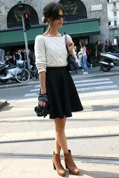 Women's White Cable Sweater, Black Skater Skirt, Brown Leather Ankle Boots, Black Leather Crossbody Bag