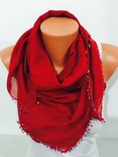 traditional scarf shawl bohemian scarf red scarf women by GCbazaar