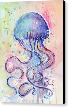 Fish Canvas Print featuring the painting Jelly Fish Watercolor by Olga Shvartsur