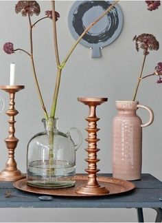 copper candle sticks