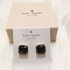 I just discovered this while shopping on Poshmark: NWT kate spade Black Glitter Stud Earrings!NWT. Check it out! Price: $30 Size: OS, listed by bluejeanrein