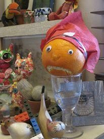 Mr Angry Orange went to a lovely Christmas party and sipped some Curaçao