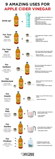 Check out these 9 Amazing Uses for Apple Cider Vinegar! … Apple cider vinegar, otherwise known as cider vinegar or ACV, is a type of vinegar made from cider or apple must and has a pale to medium amber color. Unpasteurized or organic ACV contains mother of vinegar, which has a cobweb-like appearance and can make the vinegar look slightly congealed. ACV is used in salad dressings, marinades, vinaigrettes, food […]
