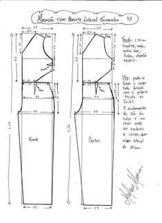Esquema de modelagem de Macacão com Recorte Lateral tamanho 48.