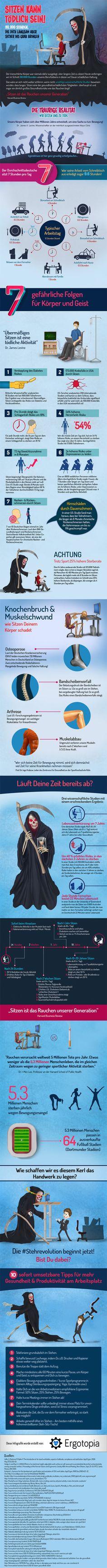 Sitzen kann tödlich sein - Infografik zu Bewegungsmangel & übermäßiges Sitzen