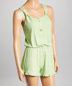 Look at this PJ Couture Mint Polka Dot Romper - Women on #zulily today!