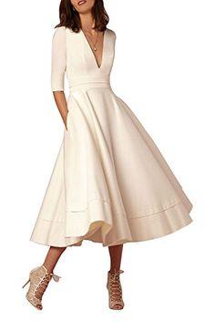 Selenova Women's Double V-Neck Half-Sleeve Satin Tea Length Evening Dresses *** See this great product.