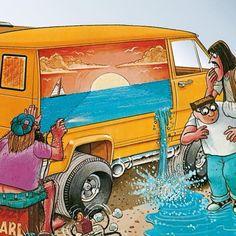 Custom VANS natural BABES & other bad ass transportation. Car Drawings, Cartoon Drawings, Cartoons Magazine, Cool Vans, Automotive Art, Custom Vans, Cartoon Pics, Classic Cars, Delivery
