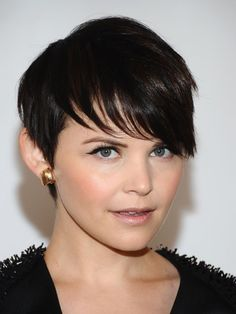 Ginnifer Goodwin  ~Ginnifer keeps her pixie cut boyish in the back and girly in the front. Her feathered bangs go from short to long as they softly drape over her forehead.