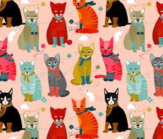 Kittens in Mittens by Andrea Lauren fabric by andrea_lauren on Spoonflower - custom fabric