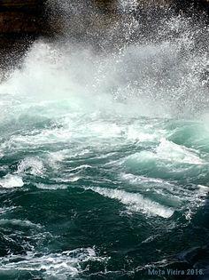 The sea crashing along the Portuguese coast in Cascais.