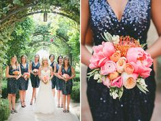 bridesmaids in sequin dresses, from rent the runway!