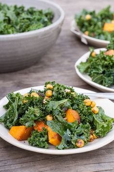 Butternut Squash Kale Salad with Maple-Roasted Chickpea Croutons