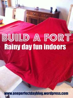 Rainy day fun – camping out in your living room. Such a simple way for the kids to spend the day using their imagination, playing and reading. How do your kids like to spend a rainy day?