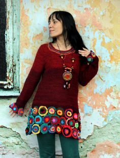 Reserved for Ana Cantero L Colorful crazy appliqued recycled sweater tunic art gypsy hippie boho