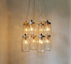 Double Decker MASON JAR Chandelier  Upcycled Hanging by BootsNGus