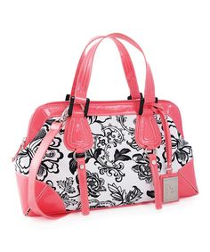 Take a look at this Melon Floral Contrast Satchel by Koret Handbags on #zulily today!